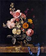 Vase of flowers with pocket watch - Willem van Aelst