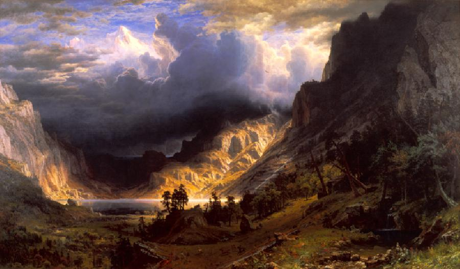 Storm in the Rocky Mountains (Mount Rosa), 1886. The Original oil painting size is 83 x 142 1/4 inches. It dates 1866. Artistically, Bierstadt`s reputation was established with beautiful pictures of the American West that represented the national agenda of expansionism known as Manifest Destiny.<br /><br />Giclee prints of 24x14 and 36x21 sizes are lightly embellished. Larger sizes are heavily embellished by a professional artist. Custom sizes and embellishment styles are available upon request.