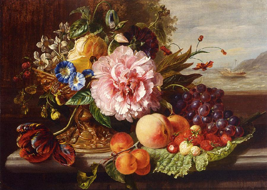 A Still Life With Flowers and Fruit. The original size of this oil on canvas painting is 23.82 x 17.32 inches. It is dated 1862.