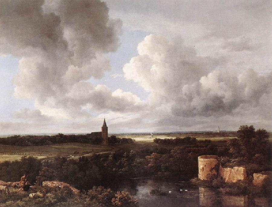 An Extensive Landscape with a Ruined Castle and a Village Church. This original oil on canvas painting dates 1665. The size is 42.9 x 57.5 inches. It is located in The National Gallery, London.