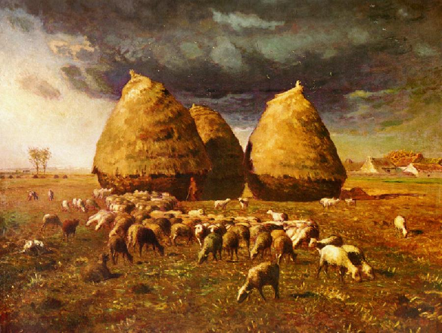Autumn Haystacks. This oil on canvas painting is dated c.1874. The original size is 33 1/2 x 43 3/8 inches. It is located in The Metropolitan Museum of Art, New York.