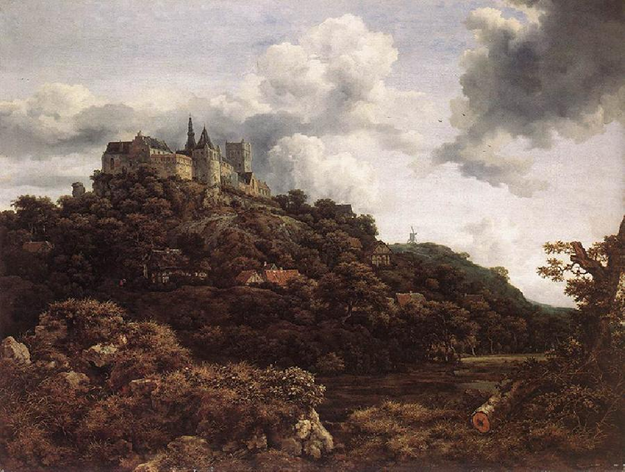 Bentheim Castle. This original oil on canvas painting is dated 1653. The size is 43.31 × 44.88 inches. It is located in The National Gallery of Ireland, Dublin.