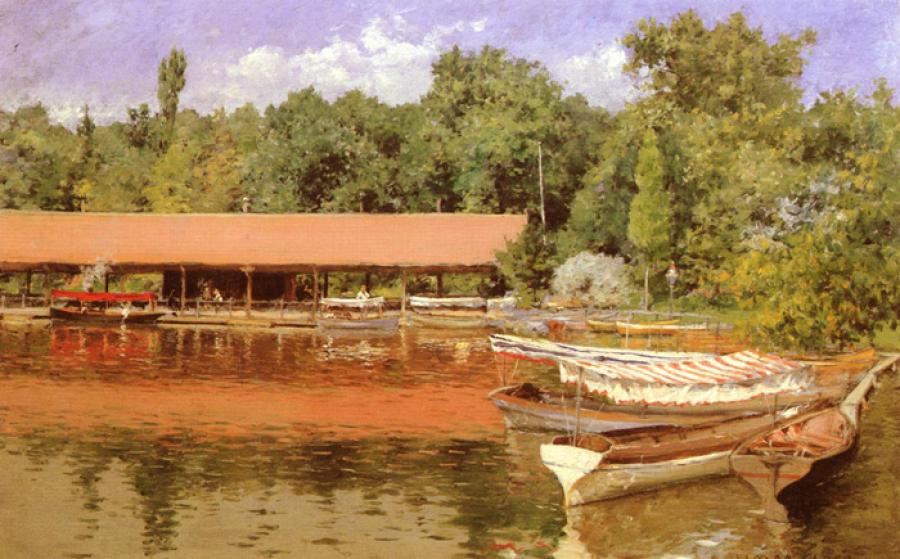Boat House, Prospect Park. This is an oil on board painting. It is dated 1887. The original size is 15.98 x 10.24 inches. It is currently located in the Collection of Meg Newhouse.