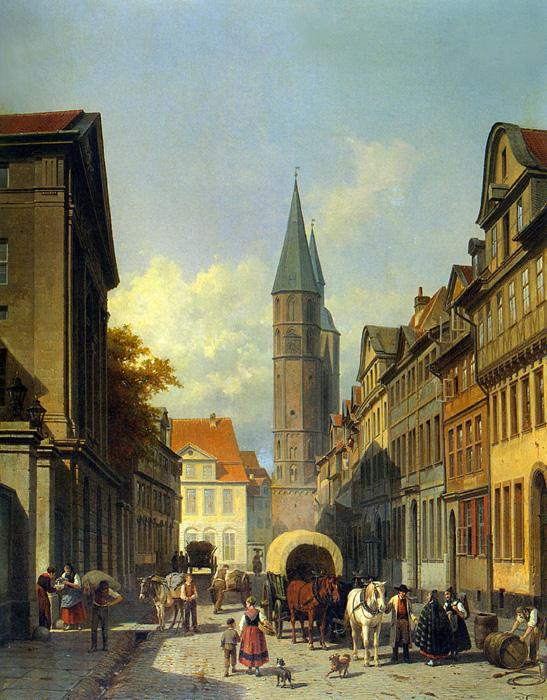 A Busy Street in a German Town. The original size of this oil on canvas painting is 30.7 x 24.6 inches. It is located in a private collection.