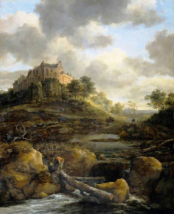 Bentheim Castle View. This original oil on canvas painting sizes at 21.26 x 26.77 inches . It is dated after the year 1650.