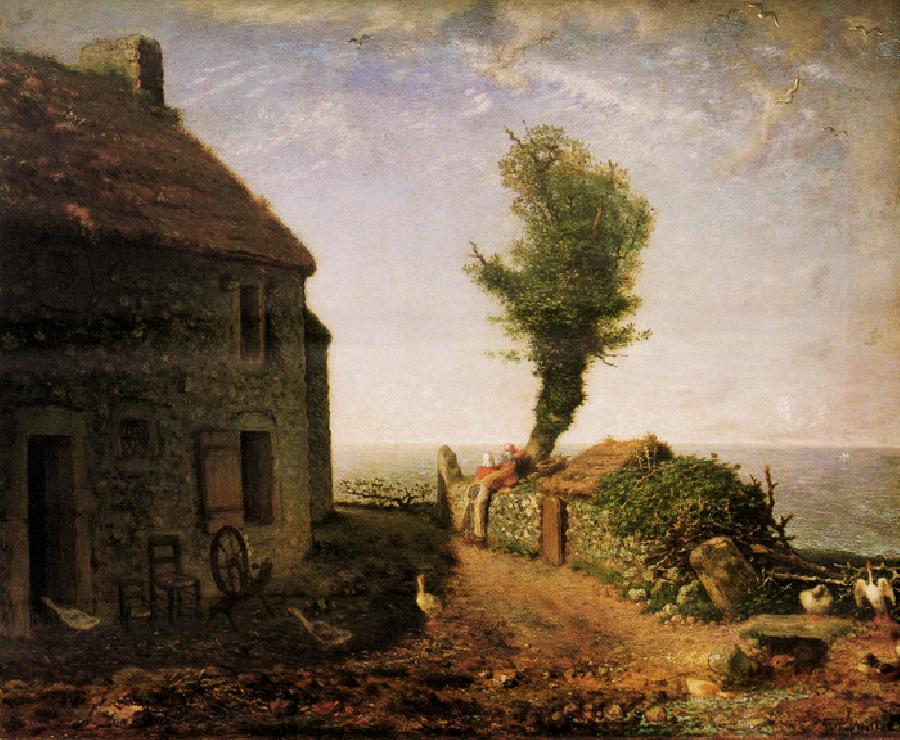 End of Hamlet of Gruchy. The original size of this oil on canvas painting is 32 1/8 x 39 5/8 inches. It is dated 1866. It is located in The Museum of Fine Arts, Boston.