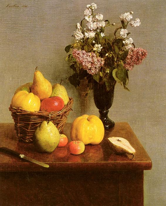 Still Life With Flowers And Fruit. This oil painting on canvas is dated 1866. It is located at The Metropolitan Museum of Art, NY.