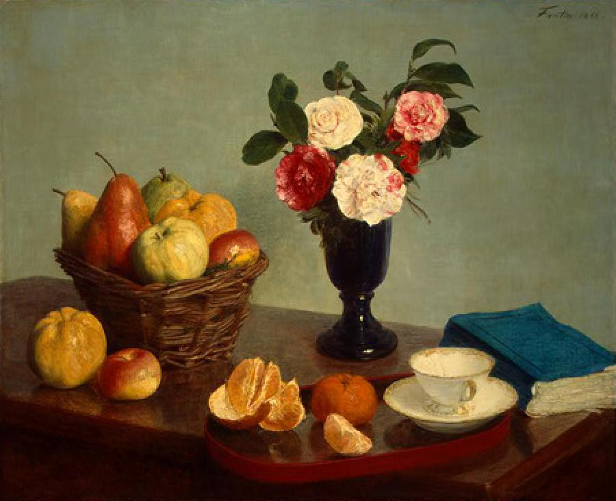 Still Life with blue book. This oil painting on canvas is dated 1866. The original size is 24.4 x 29.5 inches. It is located in The National Gallery of Art, Washington D.C.