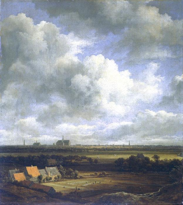 View of Haarlem. This painting is dated c. 1670. The original size is 16.9 x 15. It is a classic Dutch landscape - very flat with much sky. The city of Haarlem can be seen in the distance.