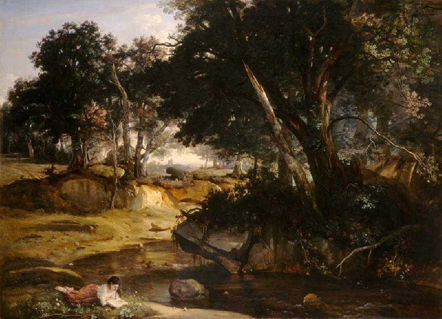 Forest of Fontainebleau. This original oil on canvas painting is dated 1834. The size is 69.1 x 95.5 inches. It is located in The National Gallery of Art, Washington, Chester Dale Collection, 1963. The Forest of Fontainebleu was previously an aristocratic hunting terrain for kings and emperors, but in the 19th century it became an attraction for many tourists and artists. The Forest lies 35 miles or so southeast of Paris.