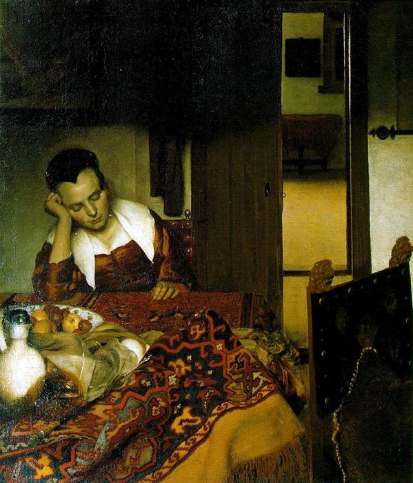 A Girl Asleep. This oil on canvas painting is dated c.1657. The original size is 34 1/2 x 30 1/8 inches. It is currently located at The Metropolitan Museum of Art, New York.