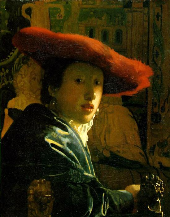 Girl with a Red Hat. This oil on wood painting is dated c.1666-67. The original size is 9.1 x 7.1 inches. It is currently located at The National Gallery of Art, Washington, D.C.