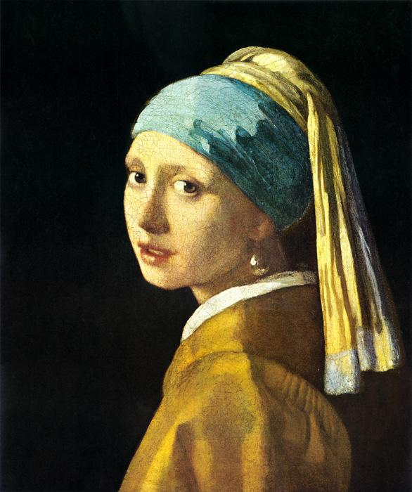 Girl with a Pearl Earring. This original oil on canvas painting is dated c.1665. The size of it is 18.3 x 15.7 inches. It is currently located at The Royal Picture Gallery Mauritshuis, 	The Hague.