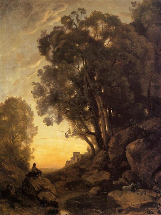 The Italian Goatherd, Evening. This oil on canvas painting is currently located in Musée Du Louvre, Paris, France.