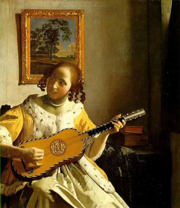 Guitar Player. This original oil on canvas painting is dated c.1672. It is currently located at Kenwood, English Heritage. It is sized at 20.9 x 18.2 inches.