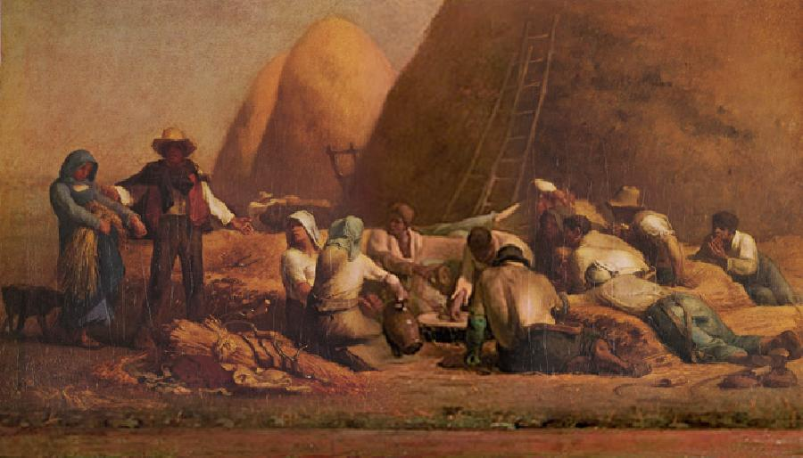 Harvesters Resting. Another title for this oil on canvas painting is `Ruth and Boaz`. The Original size is 26 1/2 x 47 1/8 inches. It is dated c.1850-53. It is currently located in The Museum of Fine Arts, Boston.