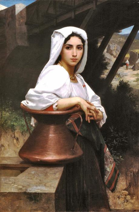 Italian Girl Drawing Water. The original size of this oil on canvas painting is 31.1 x 47.05 inches. It is currently located in a private collection. It is dated 1871.