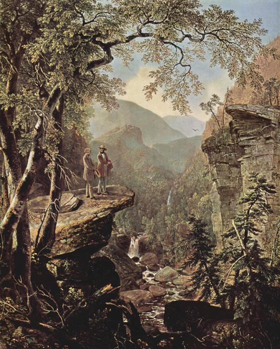 Kindred Spirits. This painting depicts William Cullen Bryant and Thomas Cole in Kaaterskill Clove. It was done as a tribute to cole upon his death in 1848. The original size is 46 x 36 in. It is oil on canvas and is located in The New York Public Library, New York City.
