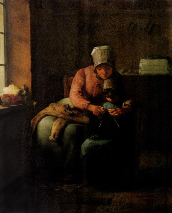 Knitting Lesson. This original oil on canvas painting is dated c.1860. The size is 16.3x12.6 inches. It is located at The Sterling and Francine Clark Art Institute.