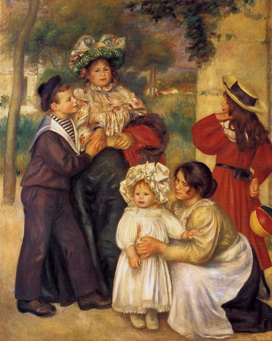 La Famille d Artiste. This original oil on canvas painting is dated 1896. It is sized at 68.1 x 55.1 inches. It is currently located at The Barnes Foundation, Merion, Pennsylvania.