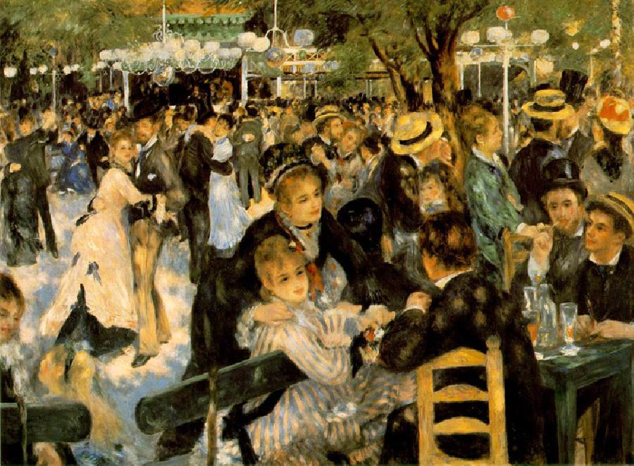 Le Moulin de la Galette. This original oil on canvas painting was created in 1876. It is sized at 68.9 x 51.5 inches. It is currently located in The Musée d'Orsay, Paris, France.