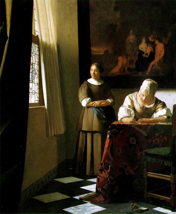 Lady Writing a Letter with her Maid. The original size of this oil on canvas painting is c.1670. The original size is 28.4 x 23.5 inches. It is located in The National Gallery of Ireland, Dublin.