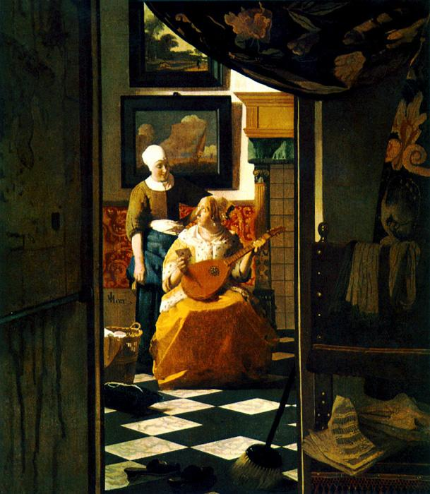 The Love Letter. This original oil on canvas painting is dated c.1670. It is sized at 17.3 x 18.9 inches. It is located at The Rijksmuseum, Amsterdam.