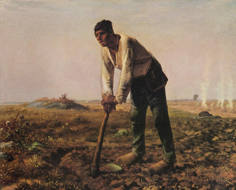 The Man With a Hoe. The Original oil painting size is 31.5x39 inches. It is dated c.1860-62.