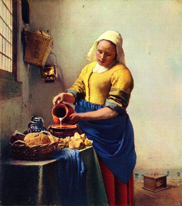 The Milkmaid. This original oil on canvas painting is dated c.1657-58. It is sized at 17.9 x 16.1 inches. It is currently located at Rijksmuseum, Amsterdam.