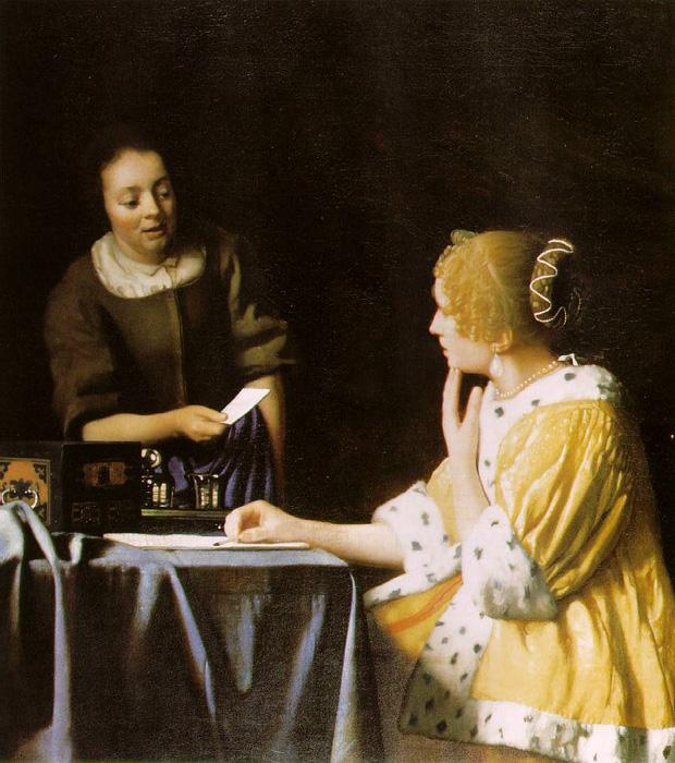 Mistress and Maid. This original oil on canvas painting is dated c.1666-67. It is sized at 35.5 x 31 inches. It is currently located in The Frick Collection, New york.