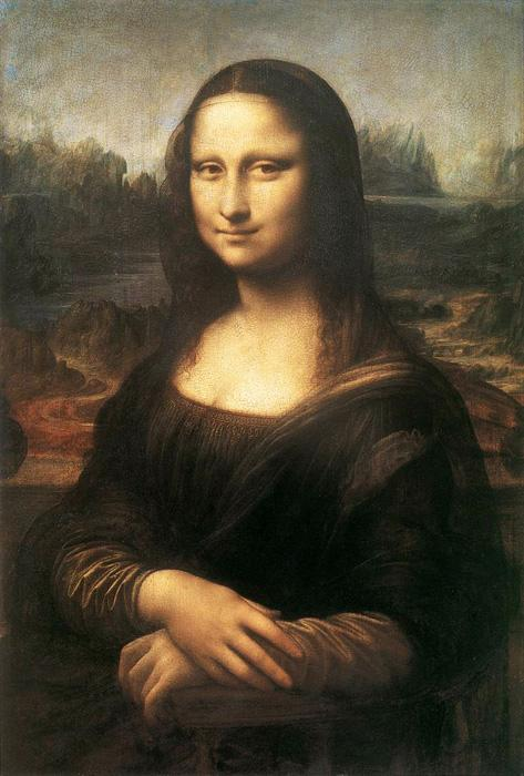 Mona Lisa, La Gioconda. This famous original oil on canvas painting was created c.1503-06. The original size is 30 x 20 inches. It is currently located in the collection of the Louvre in Paris.
