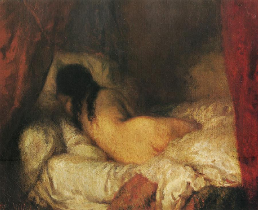 Nude Lying on Bed. The original size of this oil on canvas painting is 16.1x13 inches. It is located in Musee D`Orsay, Paris, France. It is dated c.1844-45.