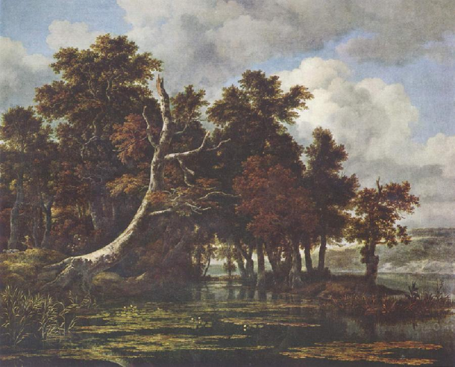 Oaks by a Lake with Waterlilies. The original size of this oil on canvas is 46.1 x55.9 inches. It is dated sometime between 1665-69. It is located in The Staatliche Museen, Berlin.