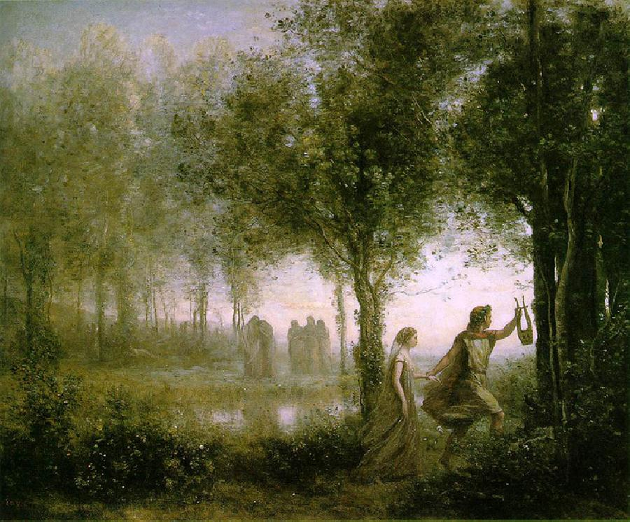 Orpheus leading Euridice from the Underworld. The date of this oil on canvas painting is 1861. The original size is 53.94 x 44.09 inches. It is currently located in The Museum Of Fine Arts, Houston, Texas.
