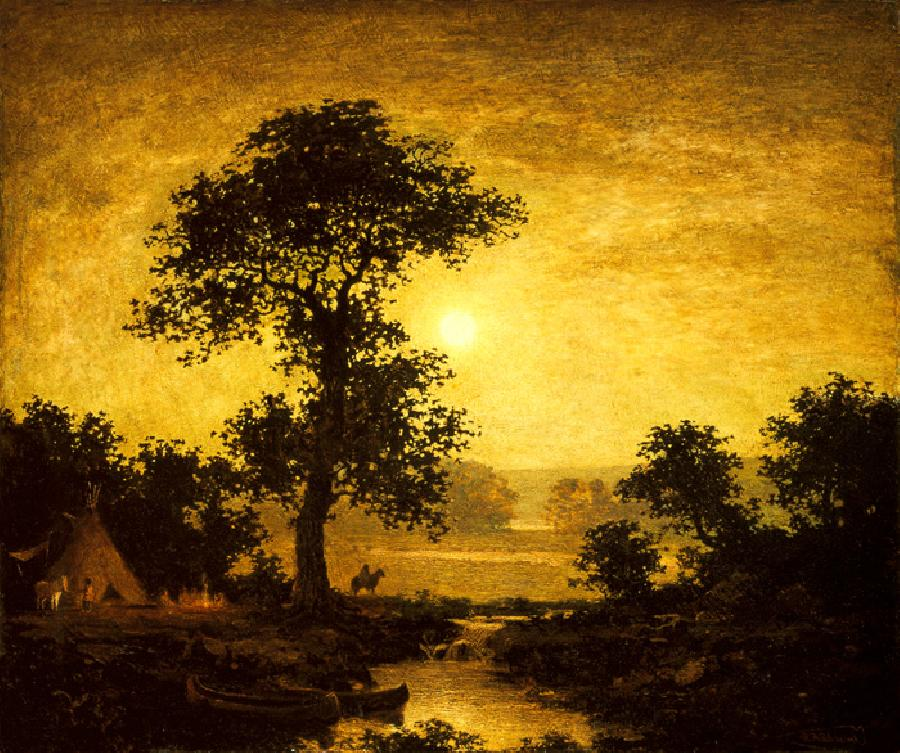 Moonlight, 1885. This oil on canvas painting is dated c.1885-89. It is sized at 27.1 x 32 inches. It is currently located in The Brooklyn Museum, New York.