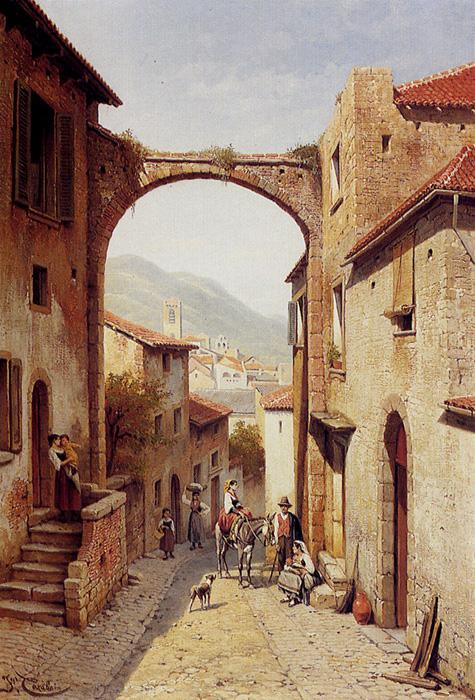 Rue A Narni, Italy. The original size of this oil on canvas painting is 30.2 x 21 inches. It is dated 1896. It is located in a private collection.
