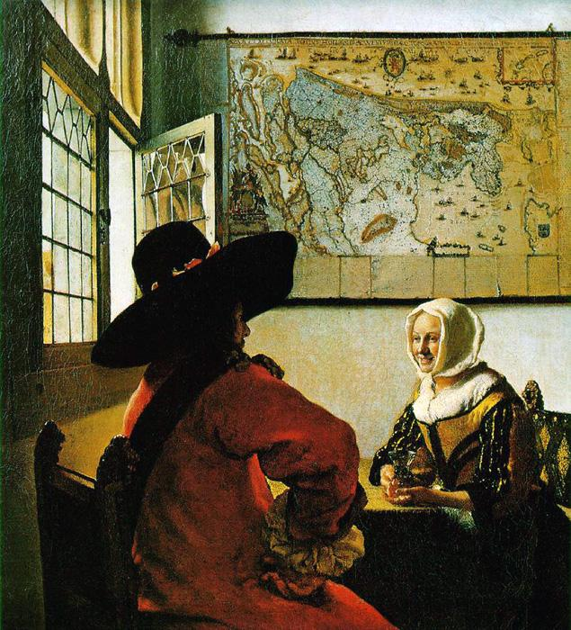Officer and A Laughing Girl. The original size of this oil on canvas painting is 19.9 x 18.1 inches. It is dated c.1657-59. It is currently located in the Frick Collection.