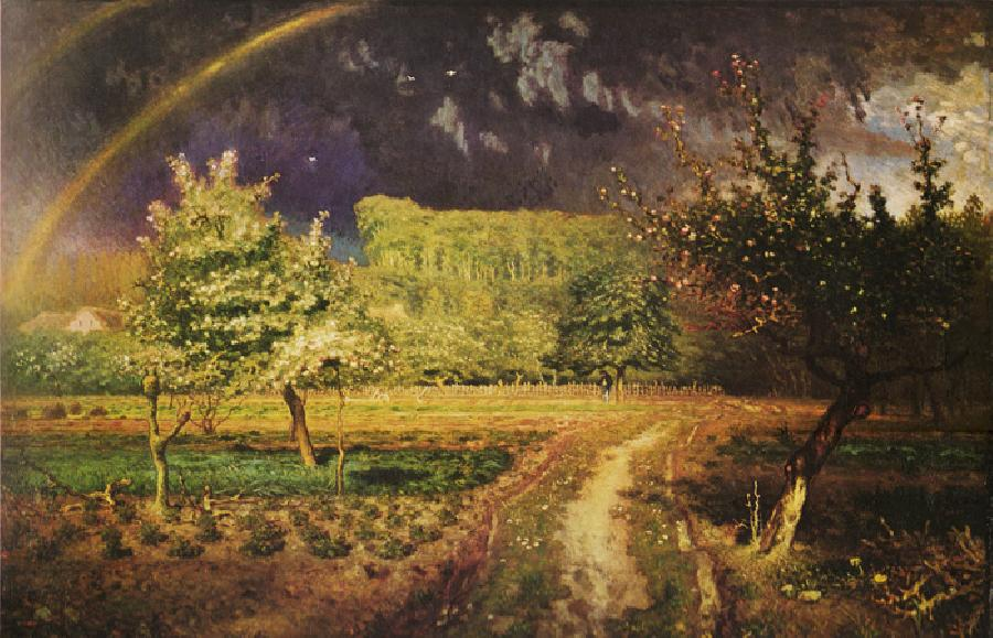 Spring. This Original oil on canvas painting is dated 1868. It is located in Musee dorsay, Paris, France. The original size is 43.7x33.86 inches.