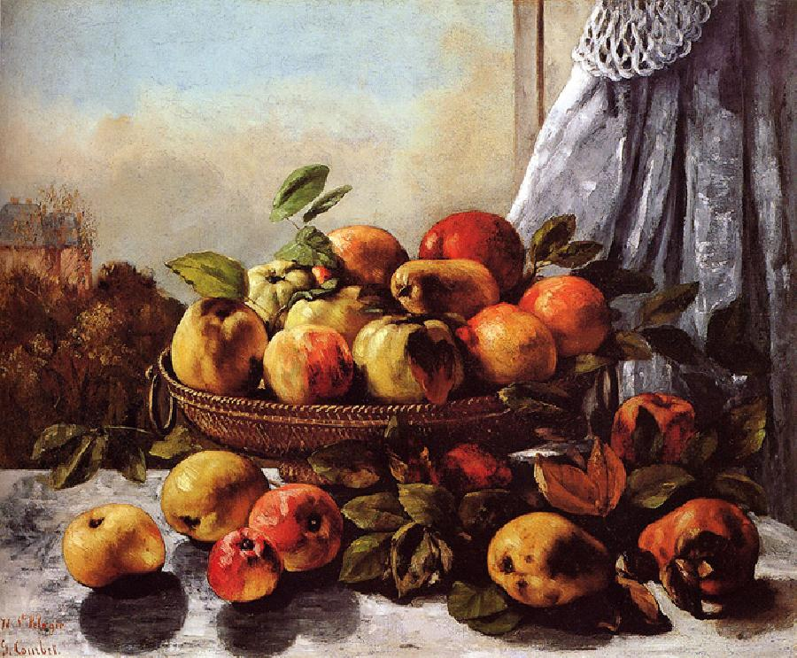 Still Life with Fruit. This painting is dated 1871-72. It is oil on canvas and it is located in The Shelburne Museum, Vermont. The original size is 23 1/4 x 28 3/8 in.