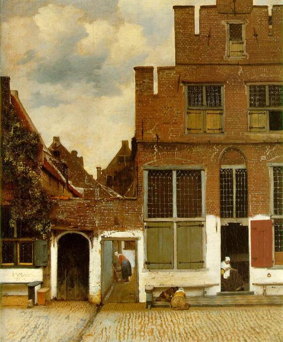 The Little Street. This original oil on canvas painting is dated 1658. It is sized at 21.4 x 17.3 inches. It is currently located in Rijksmuseum, Amsterdam.
