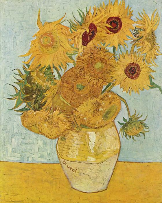 Vase with Twelve Sunflowers. This original oil on canvas painting was created in 1888. It is sized at 36.2 x 28.7 inches.