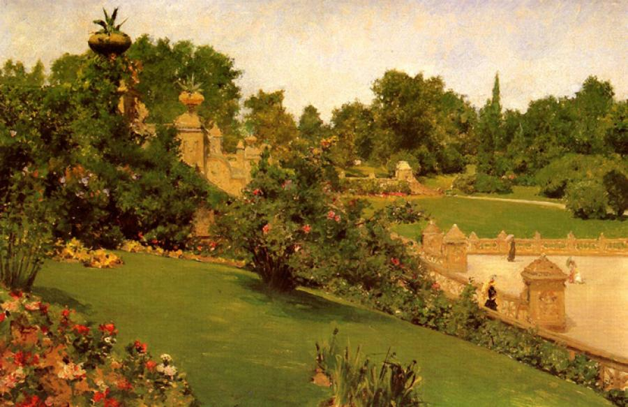 Terrace at The Mall, Central park. This is an oil on panel painting. It is dated 1890. The original size is 16.5 x 11.5 inches. It is currently located in the private collection of Richard M. Scaife.