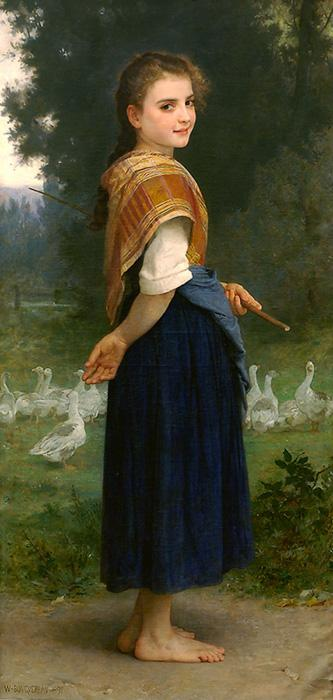 The Goose Girl. The original oil on canvas painting was created in 1891. It is located in a private collection. The original size is 60 x 29 inches. Our reproduction of the original size is beautifully hand embellished by a professional artist with paints & mediums. Smaller sizes are slightly embellished as well.