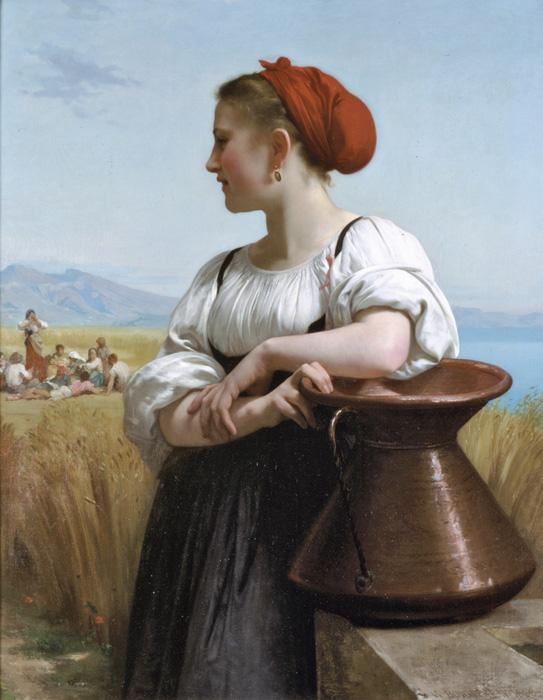 The Harvester. This original oil on canvas painting was done in 1868. It is sized at 41.9 × 33.5 inches. Currently, it is located in a private collection.