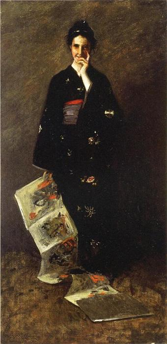 The Japanese Book. This original oil on canvas was done c.1900. The original size is 37x72 inches. It is currently located in a public collection.