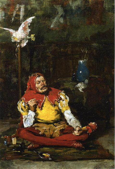 The King's Jester. This original oil on canvas is dated 1875. It is currently located in a public collection. The original size is 13 x 18.5 inches.