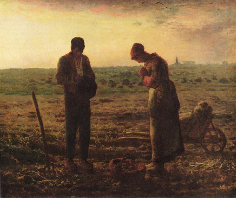 The Angelus. This Original oil on canvas painting size is 26 x 21.75 inches. It was created between 1857 and 1859.