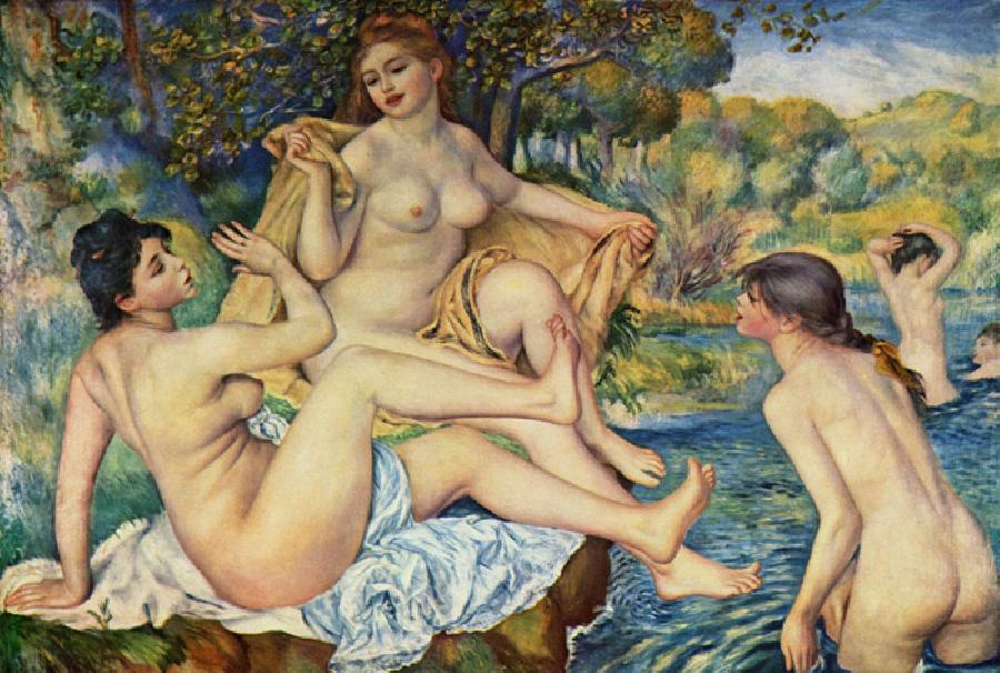 The Bathers. This original oil on canvas painting is dated 1887. The size is 67.2 x 46.4 inches. It is currently located in The Philadelphia Museum of Art, PA.