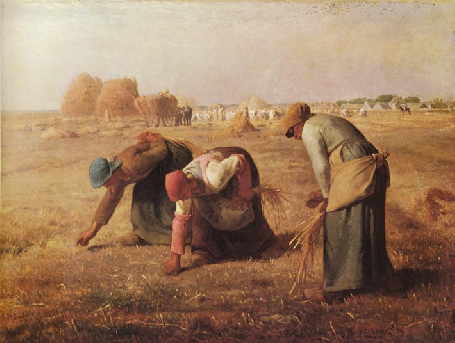 The Gleaners. The Original oil painting size is 33 x 43.75 inches. It's created in 1857. It is located in Louvre, Paris.