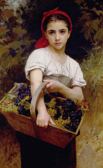 The Grape Picker. This original oil on canvas painting is dated 1875. The size is 55.1 × 24.8 inches. It is currently located in Ny Carlberg Glyptotek, Copenhagen, Denmark.